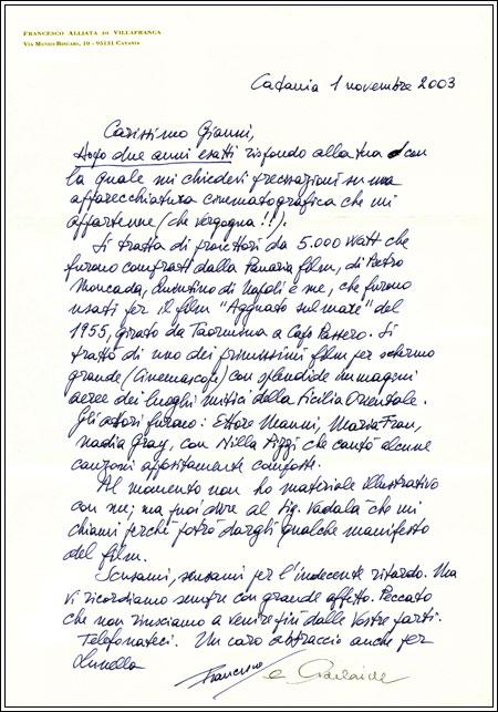 Lettera del Principe Alliata al Barone Pennisi dove si mostra l'appartenenza del riflettore della Panaria Film