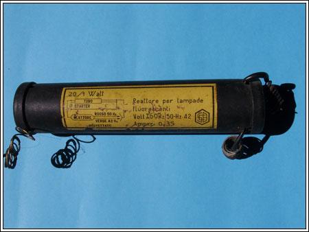 reattore per tubi floroscenti a tre fili anni 40 a 160 v. dal S. Domenico Taormina