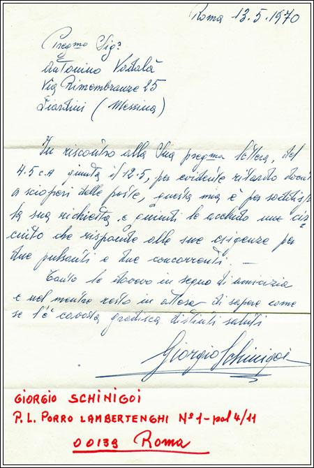 Lettera del tecnico della trasmissione rischiatutto (Rai) di Mike Bongiorno a Nino Vadalà nel 1970