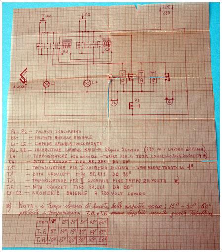 Schema inviatomi dall'ing. Giorgio Schinigoi per il gioco dei pulsanti elettromeccanici