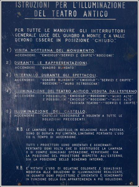 Istruzioni per l'illuminazione del Teatro Antico di Taormina
