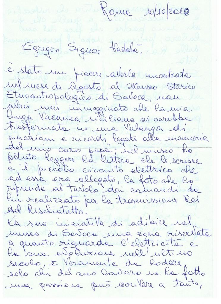Lettera della Sig.\ra Anna Schinigoi di Roma 2012 1/2