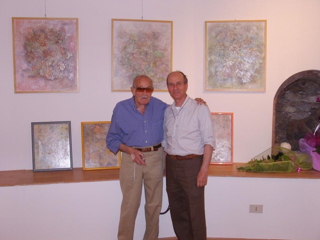 Il pittore, barone Gianni Pennisi e Nino Vadalà in una mostra