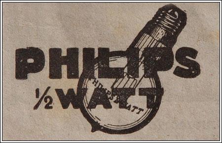 Publicità della Philips. Curiosità: questa lampada aveva il filamento spesso, quindi non era per fare luce, bensi per identificare l'esterno di una bottega o altro