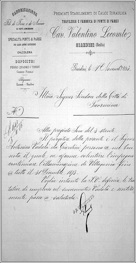 Il nonno pur essendo muratore faceva anche la palificazione elettrica , cosi' dice questa lettera al sindaco di Taormina del 3.11. 1898 scritta da Lecomte
