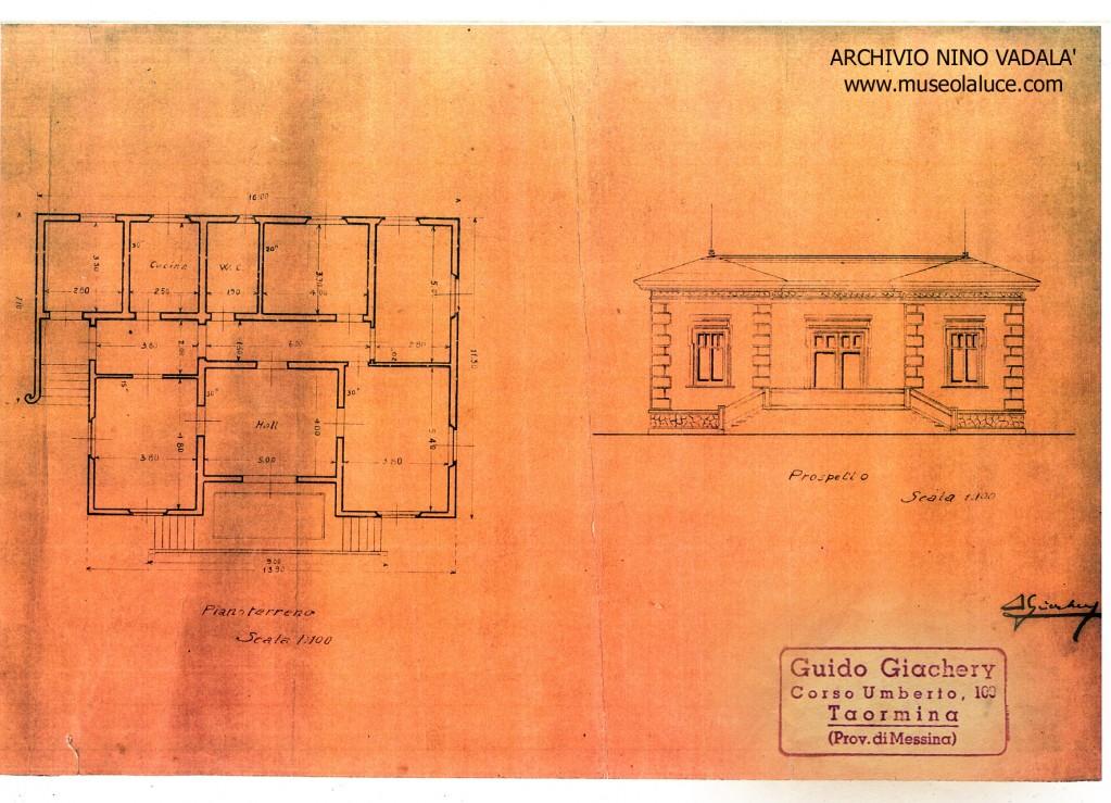 """Lavori di papà a Taormina anni 40 con progetto del pittore Giacchery """"ARCHIVIO STORICO DI TAORMINA"""" .Zoom"""