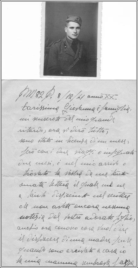 Lettere del militare di Ferrara Gigli Cleante alla nonna Giovanna, riconoscente per aversi preso cura di lui con affetto quando arrivò a Giardini nel 1941