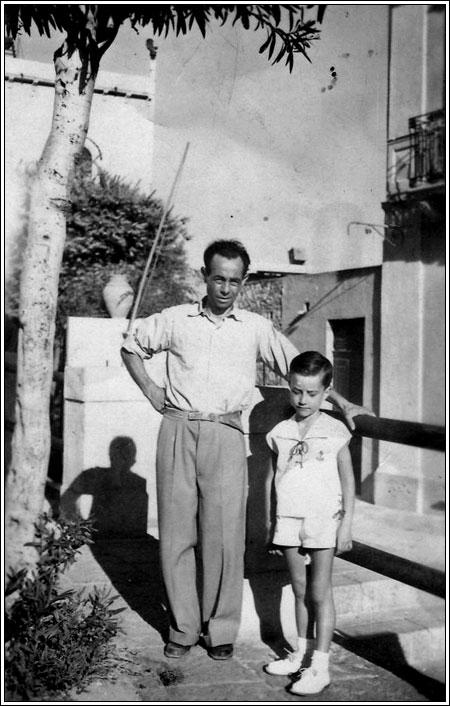 Con papà a Taormina 1950