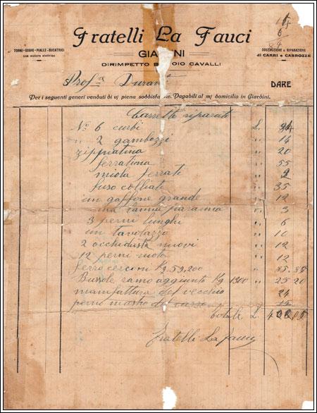 Nota F.ll La Fauci circa 1910  al prof. Durante. In alto a sinistra dicitura: torni, seghe, pialle, bucatrici con motore elettrico