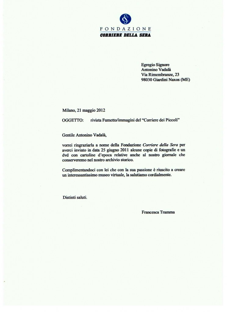 Lettera di ringraziamento Fondazione Corriere della Sera