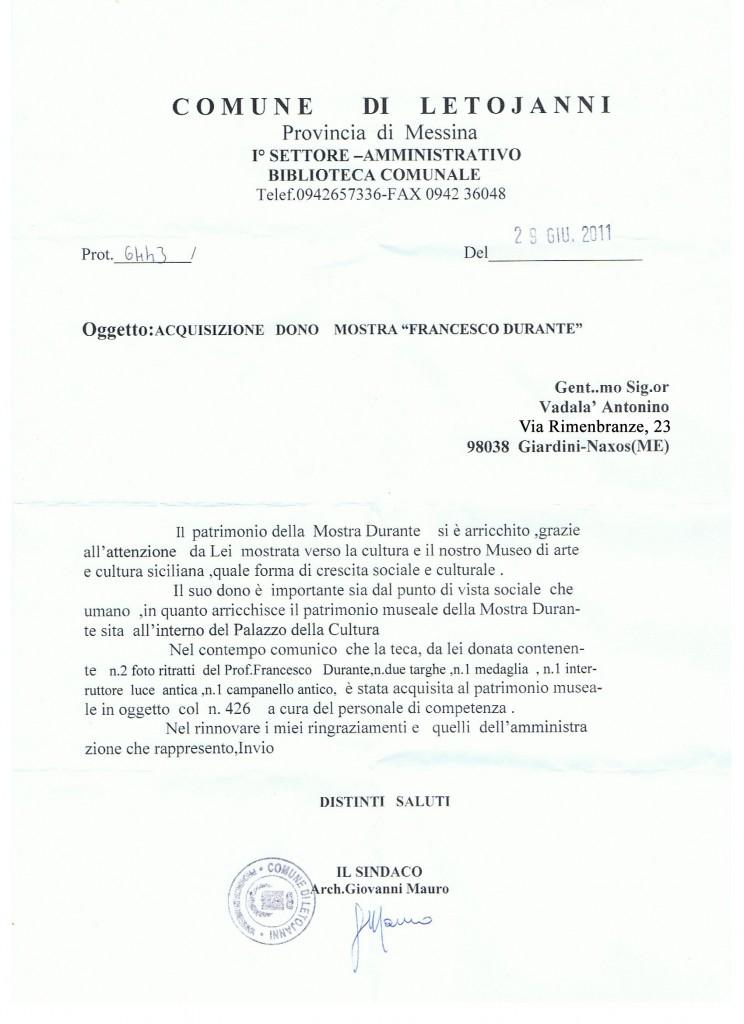 Comune di Letojanni lettera del sindaco per ringraziamenti .Zoom