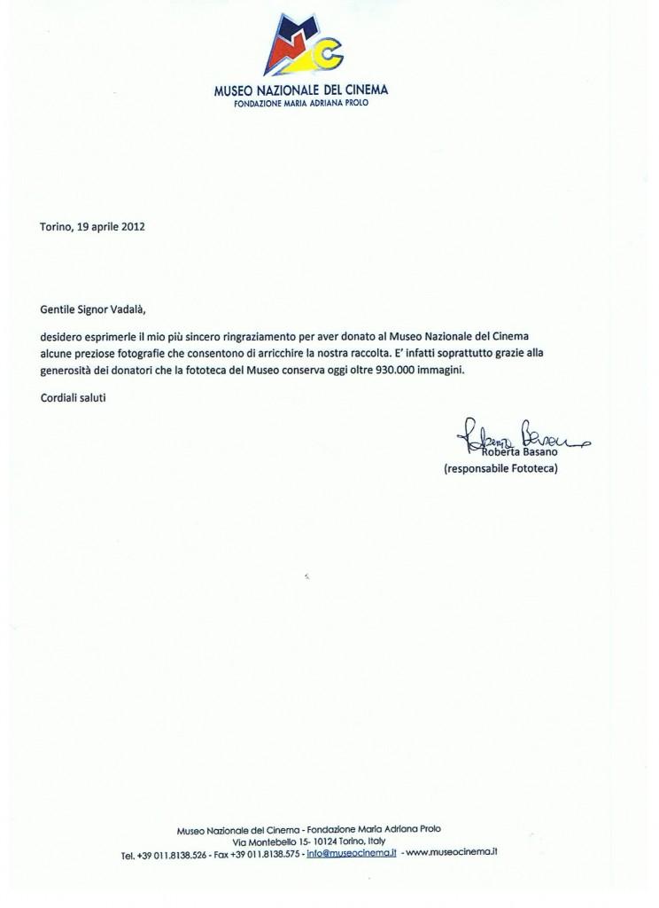 Lettera di ringraziamento del Museo Nazionale del CINEMA TORINO